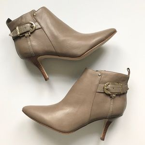 Marc Fisher Taupe Leather Julita Ankle Booties